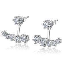 Luxury 925 Sterling Silver Earrings Six Claw Zirconia Front Back Double Sided Leaves Stud Earrings For Women pendientes