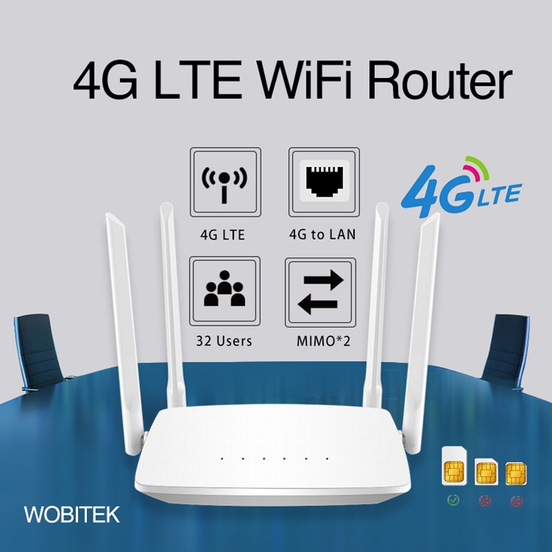 3G 4G Router Unlocked LTE CPE Wireless 300Mbps With SIM Card Slot External Antenna LAN Port Hotspot 32 Wifi users For IP Camera