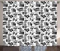 Rideaux de fenetre de Film  Vintage  cinema  camera de mouvement  enregistrement daction  Style graphique imprime  decor de salon  chambre a coucher  blanc  noir