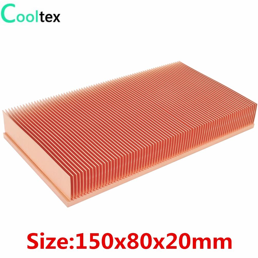 Радиатор COOLTEX 150x80x20 мм из чистой меди, теплоотвод для электронных чипов, светодиодный Усилитель мощности, охлаждающий кулер