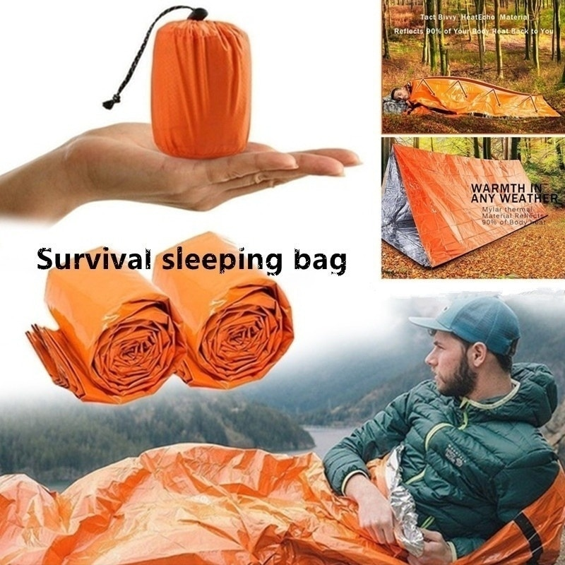 Outdoor Life Bivy Emergency Sleeping Bag Thermal Keep Warm Waterproof Mylar First Aid Emergency Blan