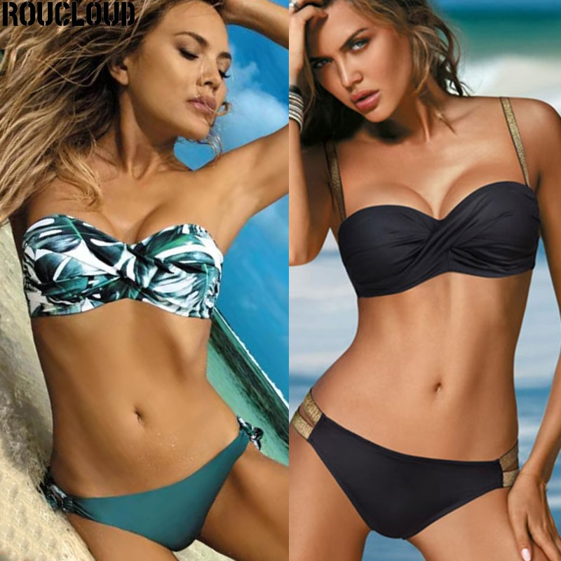 sexy micro bikini 2021 women swimsuit solid color hollow bikini set swimwear female halter top bathing suit bather biquini 2020 Sexy Solid Color Bikini Women Swimwear Bandeau Biquini Swimsuit Female Bathing Suit Push Up Bikini Set Beachwear