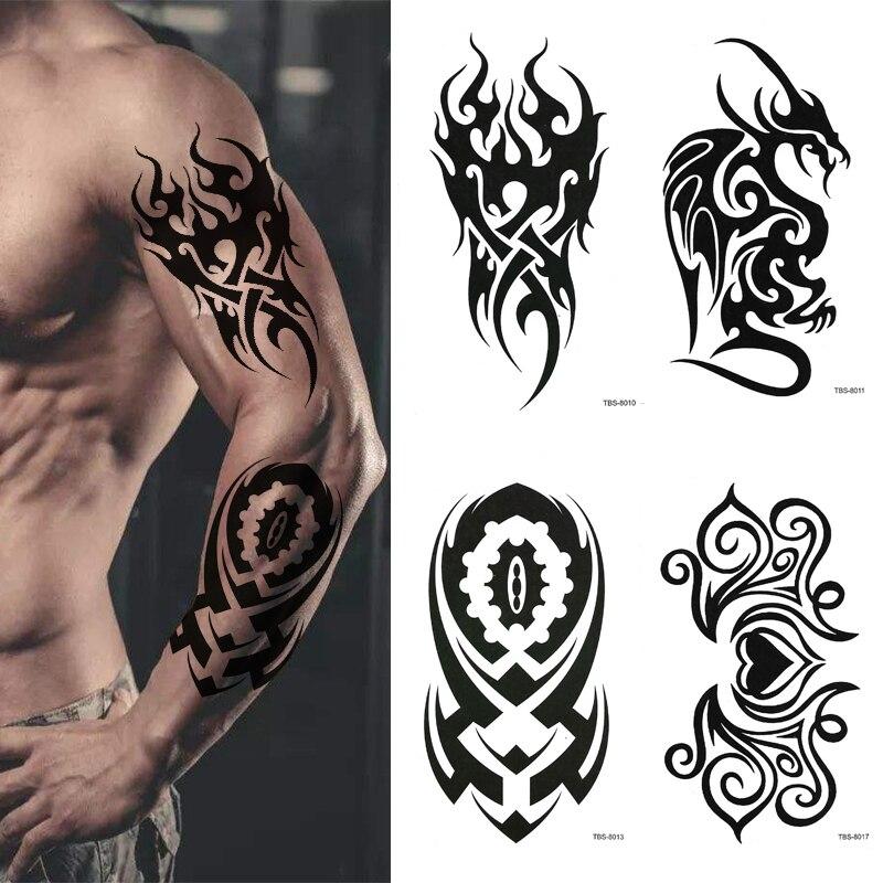 Тату-наклейка Totem мужская с геометрическим рисунком, временная тату для рук и ног, с цветком, черная водостойкая искусственная татуировка