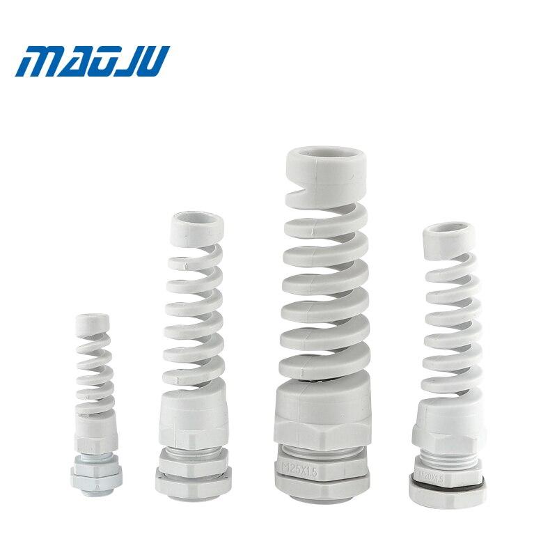Bande de câbles flexibles en Nylon blanc et noir, M12, M16, M18, M20, M22, connecteurs en plastique flexible pour le soulagement de la déformation, Protection de flexion, 5 pièces