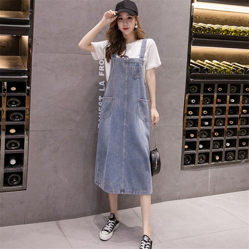 S-5XL Plus Size Dress Women Sleeveless Casual loose Sundress 2020 Spring Summer Denim Spaghetti Strap Dress  Jeans Dresses