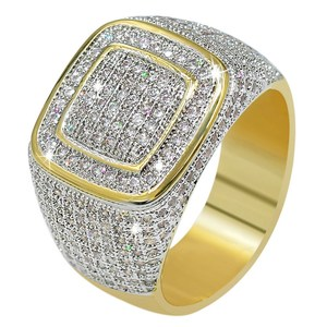 Hip Hop Punk All Iced Out Bling  Micro Pave Cubic Zirconia Stones Ring Gold-plated Copper Jewelry for Men Women 2020