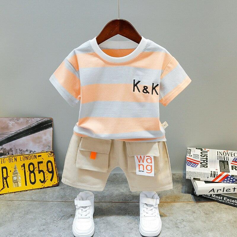 Новинка 2021, комплект детской одежды для мальчиков, летние милые полосатые футболки с коротким рукавом и шорты, хлопковые комплекты одежды д...