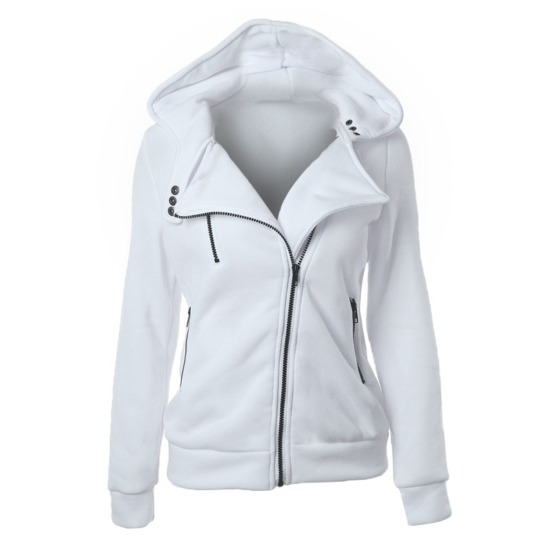 Casual Autumn Winter Women Sweatshirts 2020 White Plus Size Zipper Front Harajuku Slim Womens Jackets and Coats Hooded Hoodies