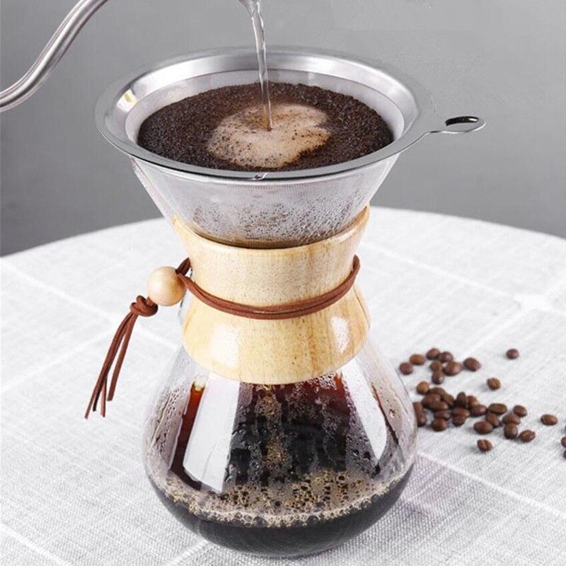 600 مللي 1000 مللي بالتنقيط صانع القهوة وعاء زجاجي و مجموعة فلاتر معدنية قابلة لإعادة الاستخدام v60 المنقط القهوة خادم Percolator صب فوق إبريق قهوة