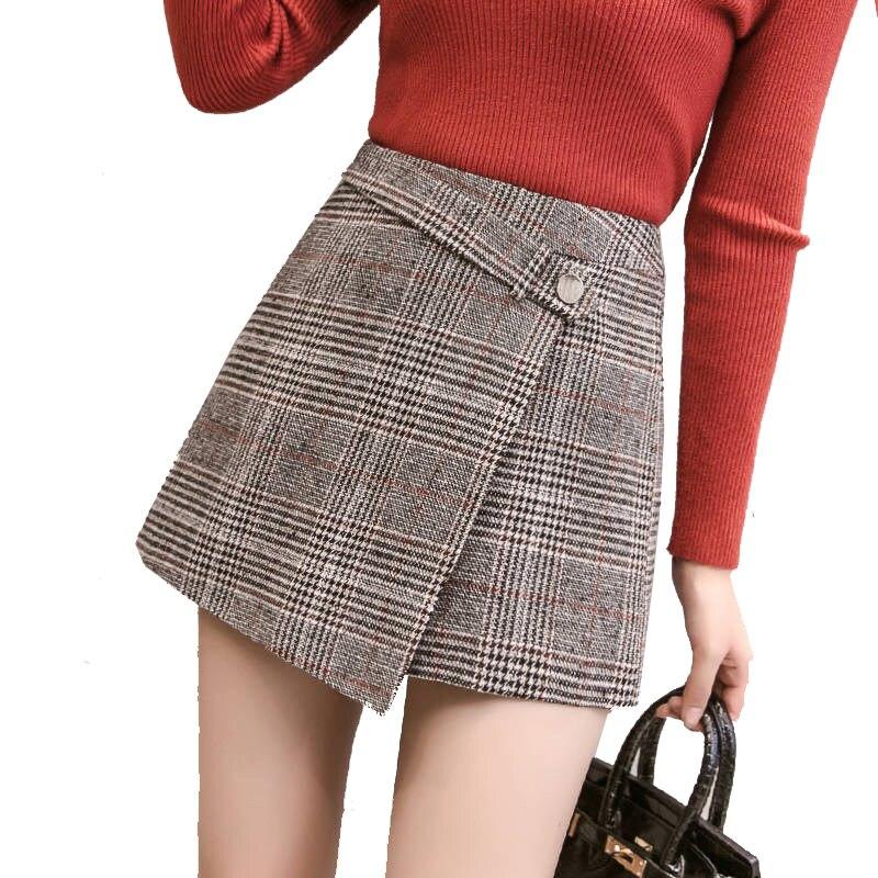 2020 automne irrégulière laine Plaid Shorts femmes hiver Harajuku taille haute Pacthwork bureau Mini bottes jupes Shorts