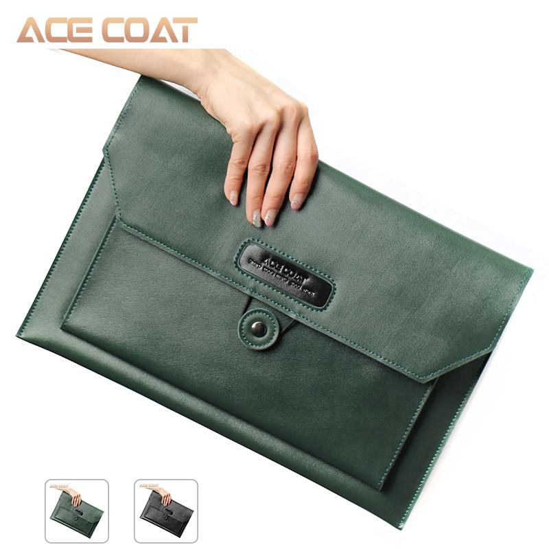 ACECOAT Notebook Tasche Dunkelgrün Split Leder Laptop Tasche für Macbook Air /pro 13/15/16 Laptop Hülse, für Macbook Pro 13 Fall
