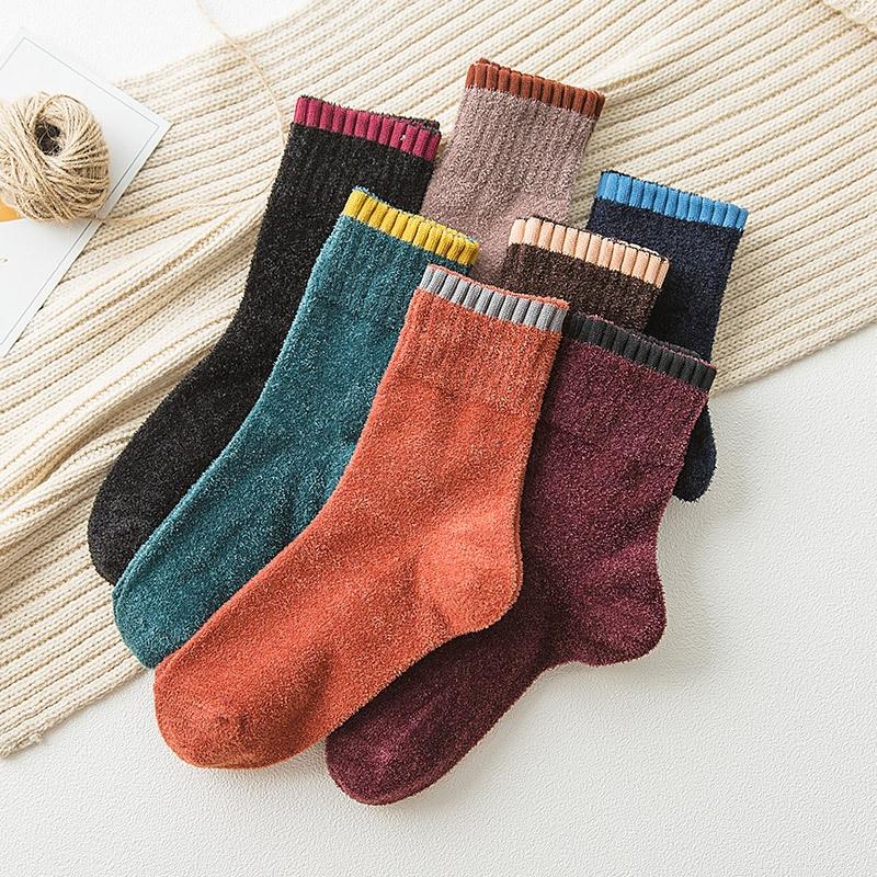 Women Socks Autumn Winter Socks Woman Cute Patchwork Soft Retro Color Thick Warm Socks Women Fashion For Women  New