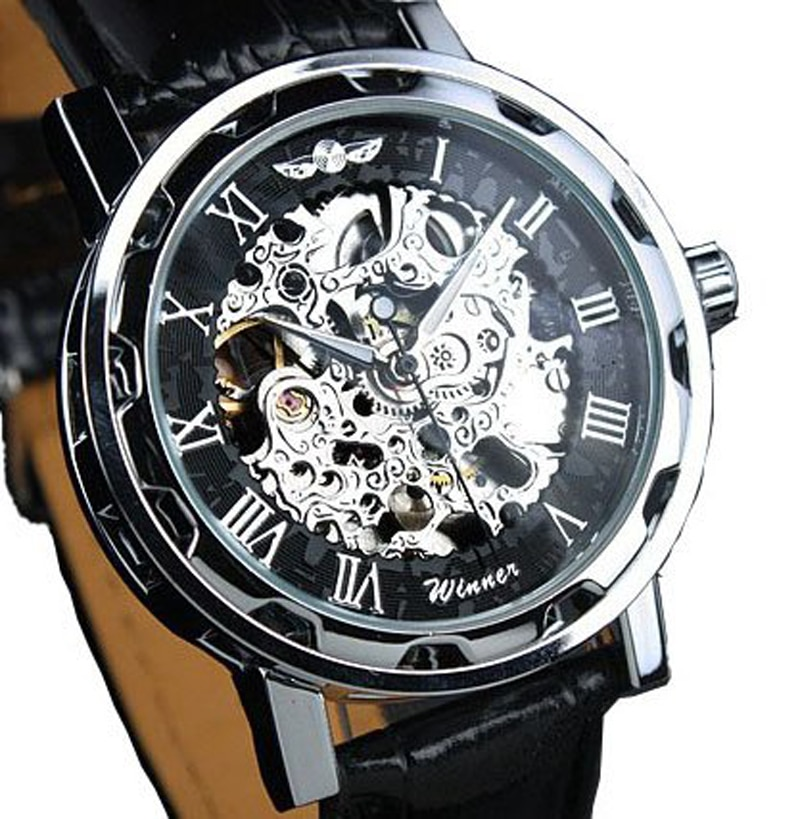 Fashion Winner Black Leather Band Stainless Steel Skeleton Mechanical Watch For Man Gold Mechanical Wrist Watch Luxury Brand enlarge