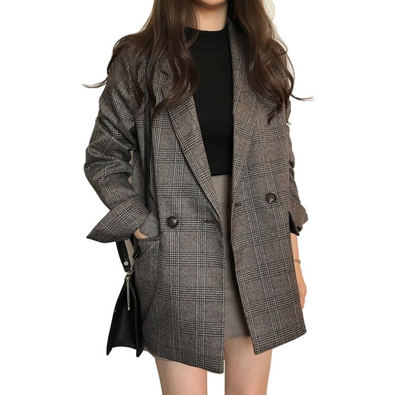 Gran tamaño Retro Blazers mujer Oficina lady suit chaqueta de manga larga Mujer blazer casual largo plaid chaqueta harajuku mujeres abrigo