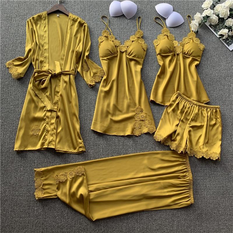 Women Sexy Pajamas 5PCS Satin Sleepwear Pijama Lace Home Wear Home Clothing Embroidery Sleep Lounge Pyjama with Chest Pads
