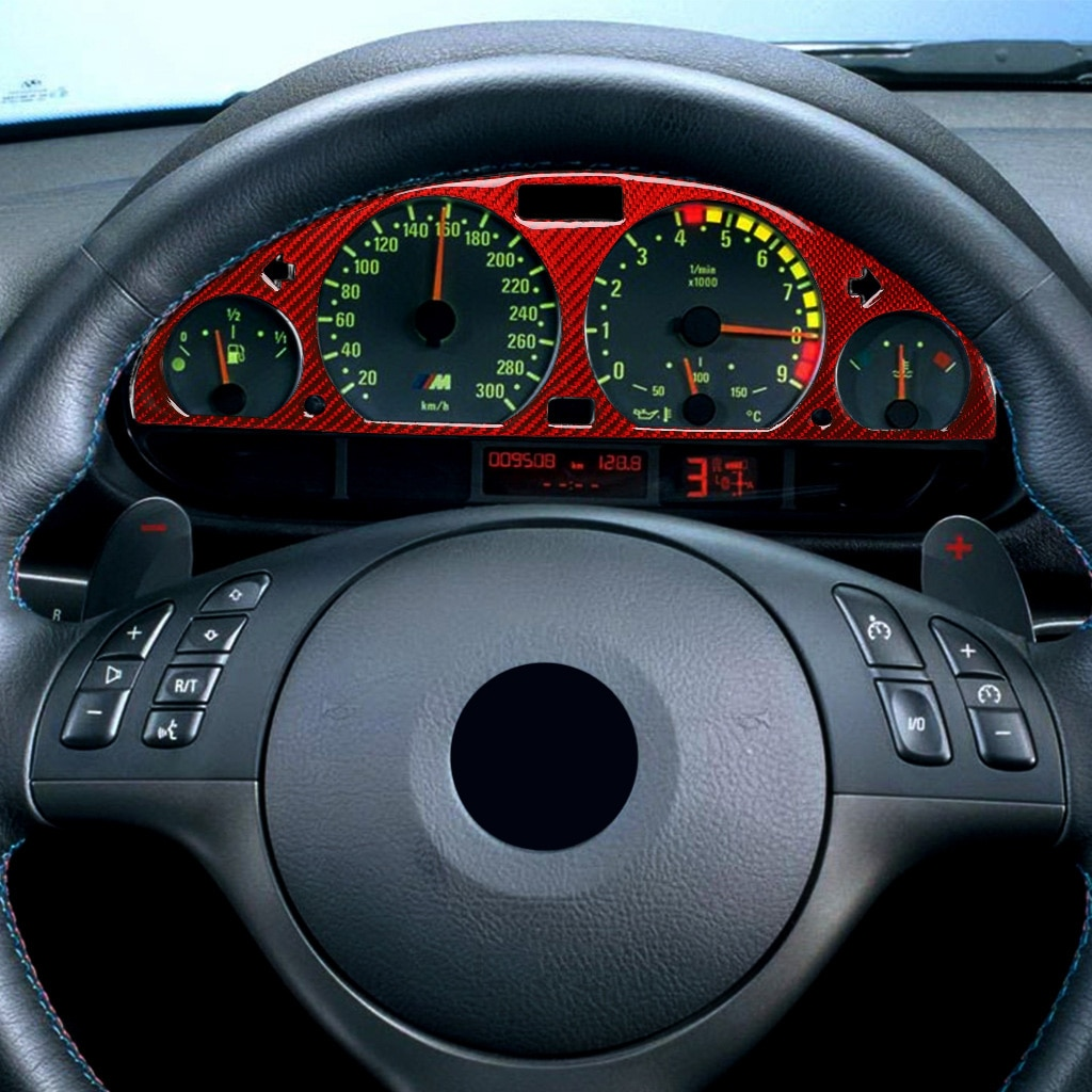 Pegatina decorativa para salpicadero de coche, pegatinas rojas de fibra de carbono para BMW E46m3 1998-2005, accesorios interiores