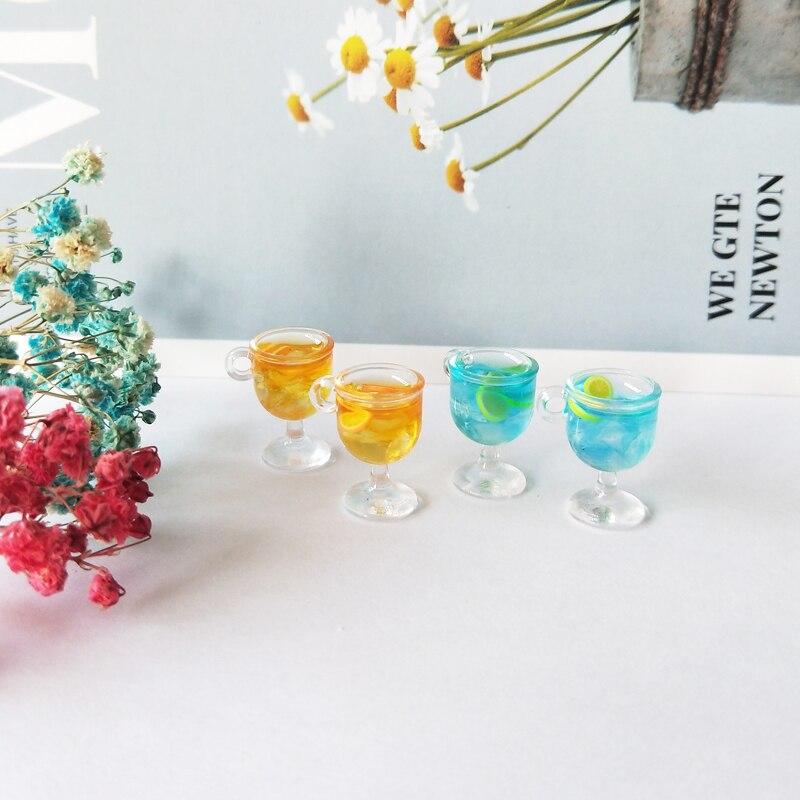 10pcs/lot Resin Goblet Cocktail Charms Pendants Lemon Wine Cup Drink Pendants Floating Fit DIY Earrings Jewelry Accessory YZ599