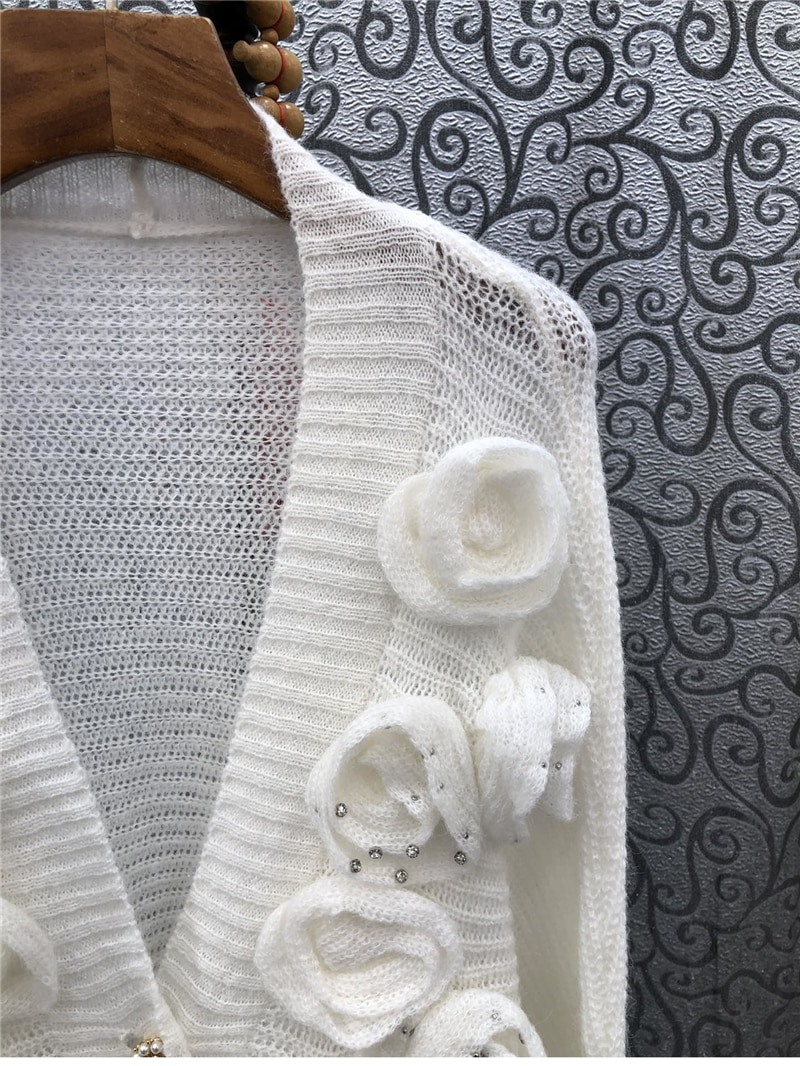 2021 Autumn Winter Fashion Cardigans High Quality Knitwear Women Appliques Flower Beading Deco Long Sleeve Casual Cardigans Coat enlarge