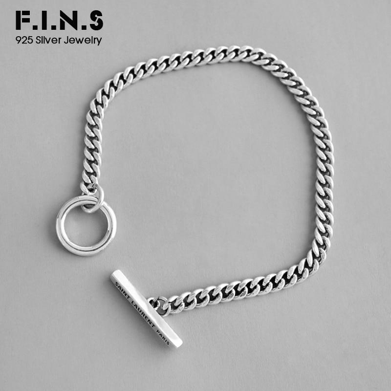 F.I.N.S Korean S925 Sterling Silver Bracelet Retro Old Geometric Circle Bar Link Chain Bracelet Silver Female Costume Jewelry