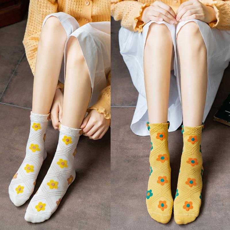 Long Socks embroidery Floral Cotton Sock Women Funny skateboard Tube Flower Pattern Print Breathable