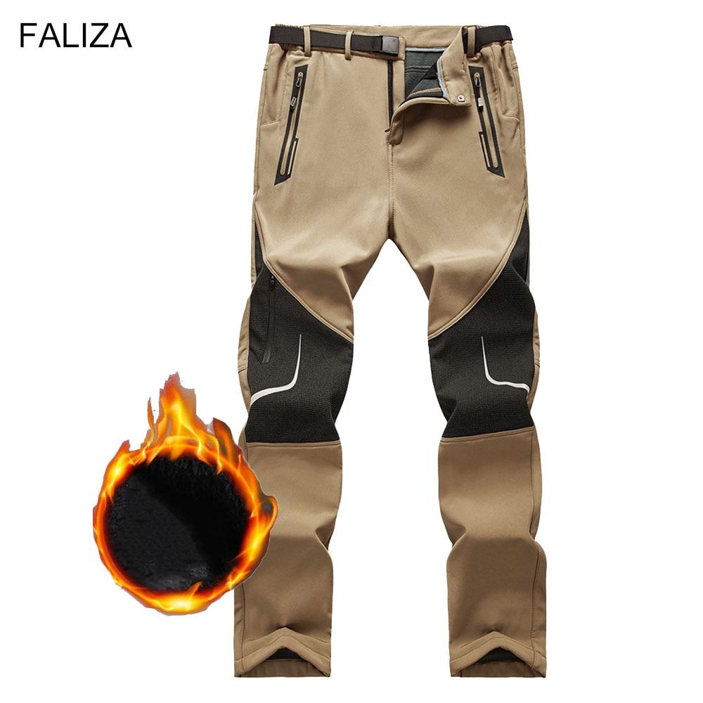 FALIZA Stretch Mens Reflective Pants Winter Thick Warm Fleece Softshell Waterproof Streetwear Mens C