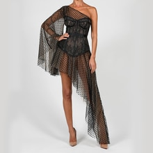 Wholesale One Shoulder Cut Out Transparent Sexy Maxi Dress Summer Women Fashion Party Club Outfits