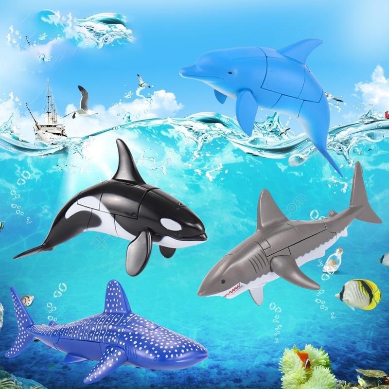 Robot transformable, juguete de Vida Marina, ballena Mata, Delfín, gran tiburón blanco, muñeco de acción transformable para niños