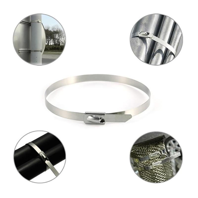 100 Uds 304Material de acero inoxidable bridas para cables de metal Zip envoltura de escape correas de calor tubo de inducción corbata de barco de alta calidad