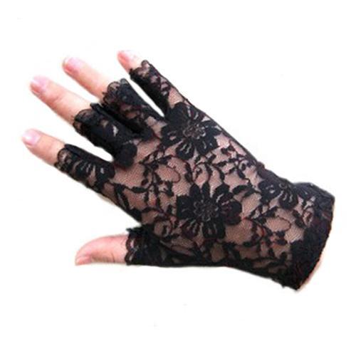 Guantes de encaje, sin dedos, negros y blancos, sexis y elegantes, para fiesta gótica de mujer