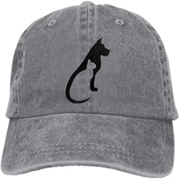 unisex cat and dog vintage washed twill baseball caps adjustable hat funny humor irony graphics of adult gift gray