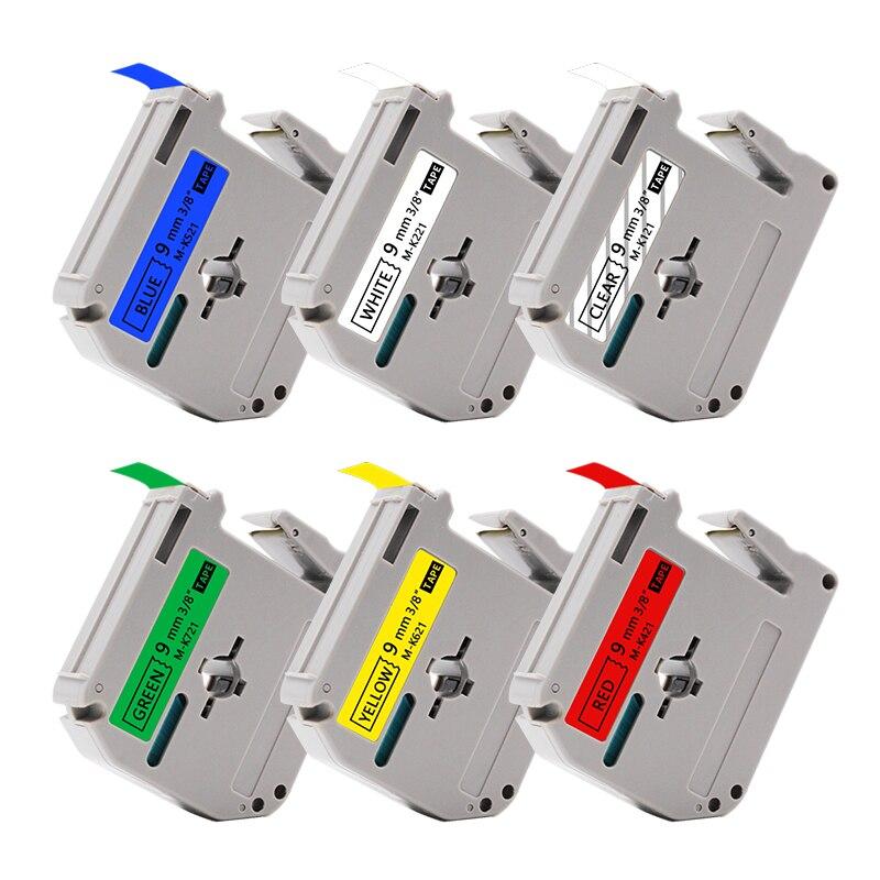 Uniplus 9mm etiqueta fabricante para brother p-touch mk221 M-K221 MK-221 fitas preto em branco etiqueta impressora fita PT-60 PT-90