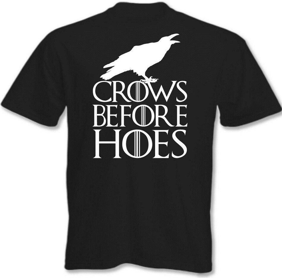 Camiseta de Juego de tronos cuervos antes de azadas hombres John parte de arriba para nieve impreso divertido diseño camiseta