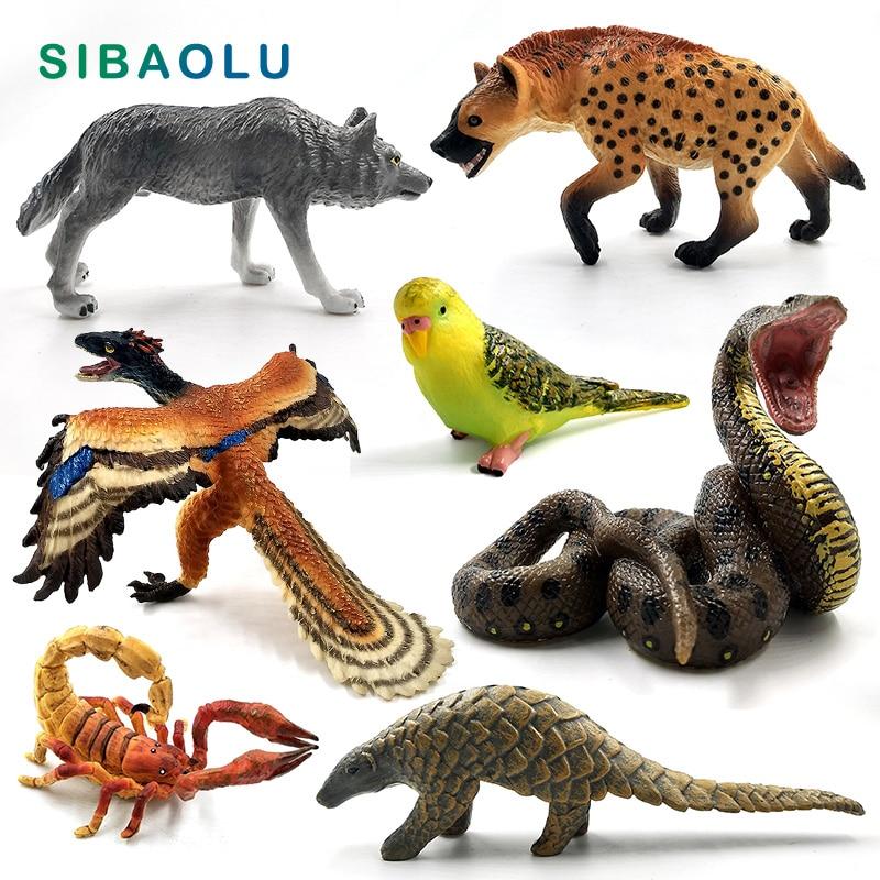 Simulation Wolf Kangaroo Parrot bird Snake Animal model figurine home decor miniature fairy garden decoration accessories figure