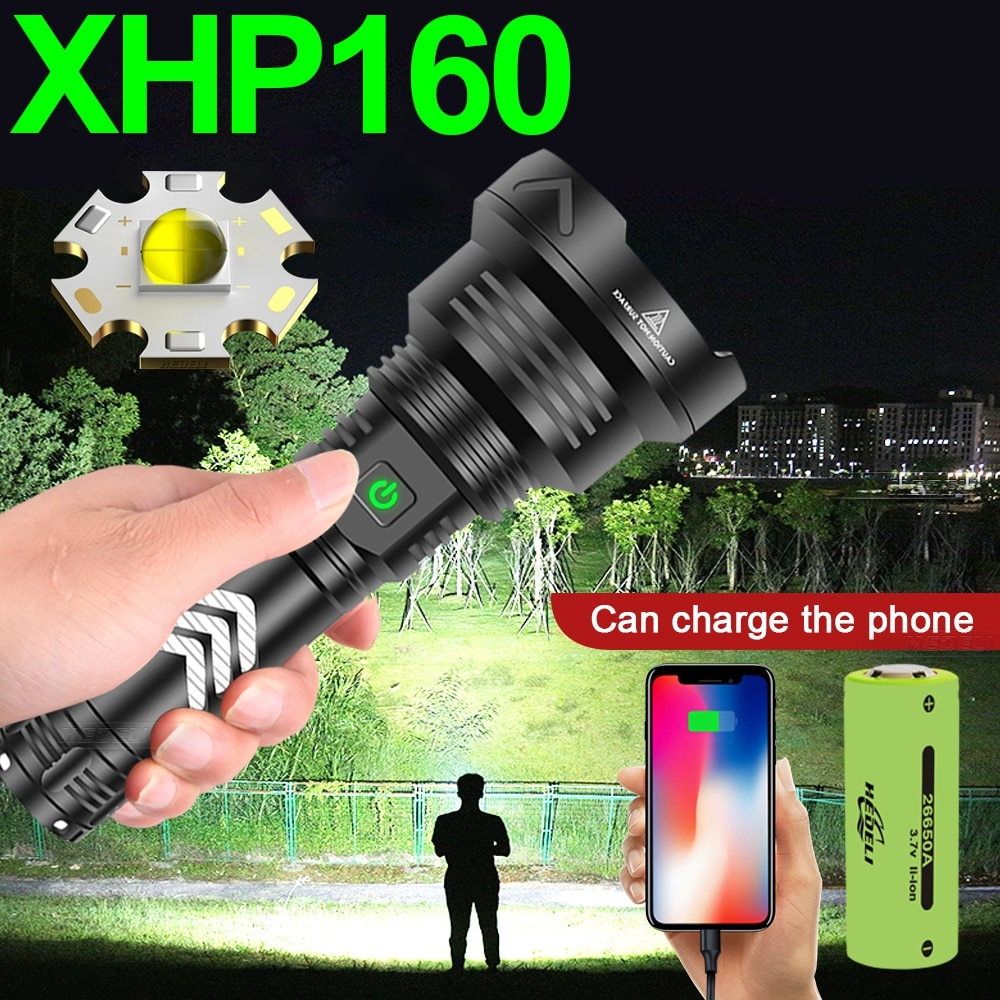 aliexpress.com - 2021Newest XHP160 Most Powerful Led Flashlight Torch Light Rechargeable Tactical Flash Light 18650 Xhp90 Hunting Usb Led Lantern