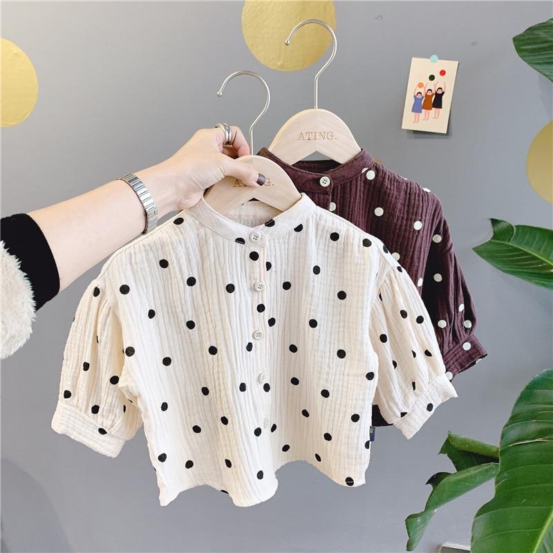 Blusa WLG para niñas, camisas de manga larga color Beige café de primavera con puntos Camisa estampada para niñas, Tops de algodón informales para niñas, ropa para niños
