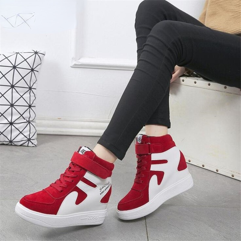 2021Thick Platform Sneakers Casual Lace-Up Wedges High Heel Womens Shoes Outdoor Black Red Platform