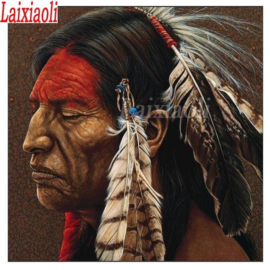 DIY pintura de diamantes completo cuadrado/redondo bordado de diamantes de la India hombres pluma Cruz Stitch diamantes de imitación decoración de mosaico de las personas nativas