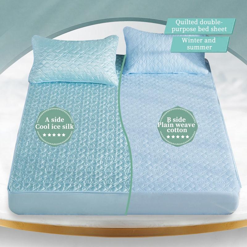 32 درجة الجليد الحرير المزدوج مفيدة مبطن غطاء مرتبة مبطن السرير المجهزة ورقة أربعة مواسم فراش الهواء نفاذية السرير وسادة