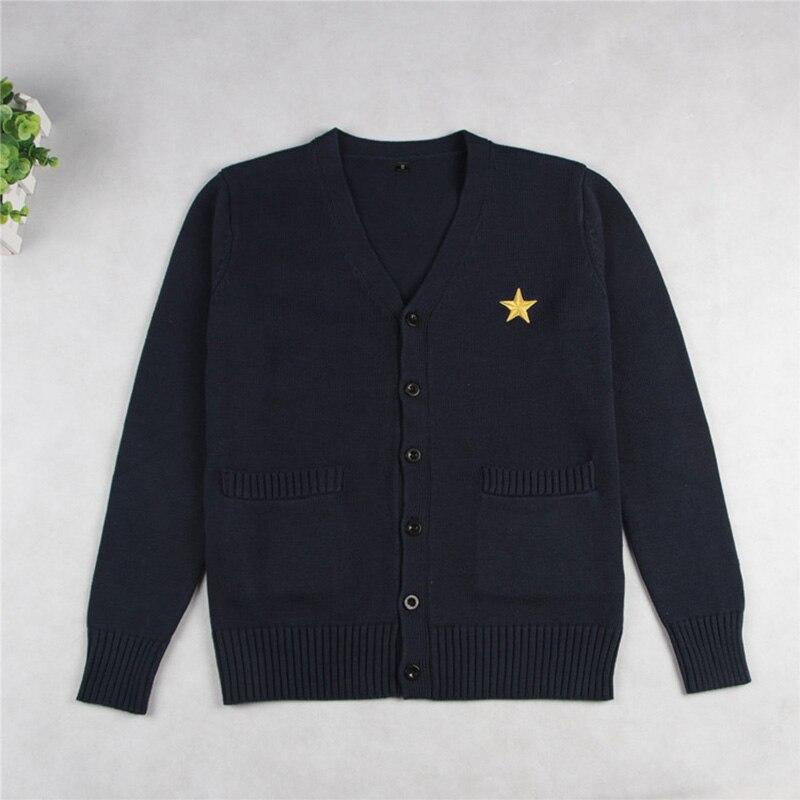 Escola jk uniforme camisola casaco anime cosplay trajes cardigan outerwear camisola azul marinho de manga comprida tricô casaco para meninas