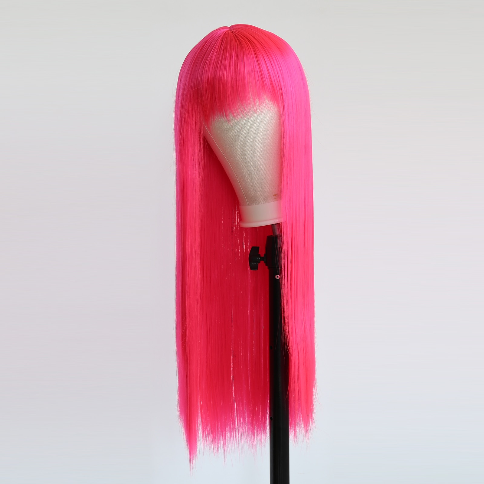 BTWTRY Hot Pink Long Straight Hair Wigs Heat Resistant Synthetic Hair Wigs for Black Women Cosplay Daily Wear