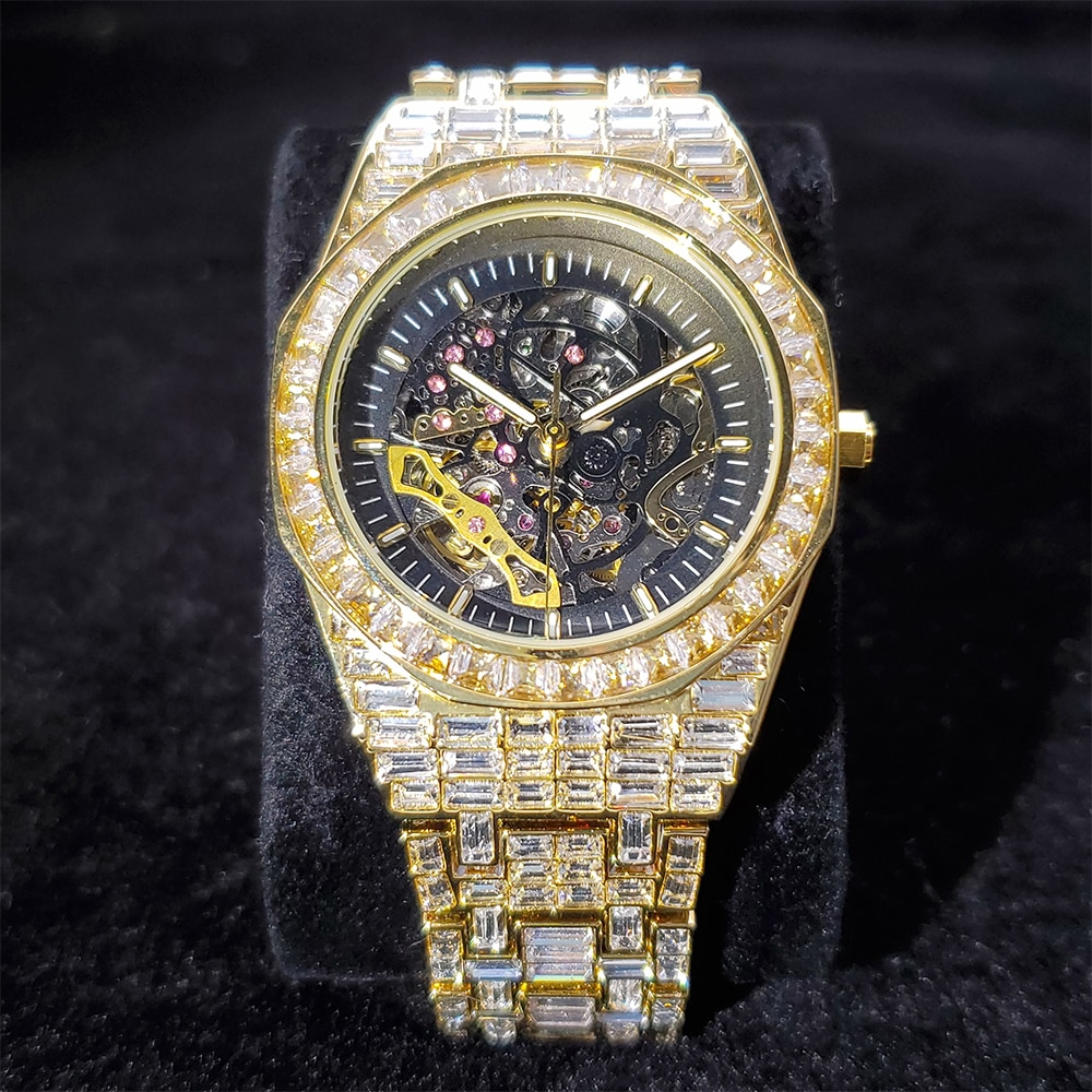 Hip Hop MISSFOX Top Brand Luxury Mens Watches Fully Iced Out Fashionable Baguette Diamond Automatic