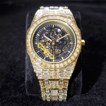 Hip Hop MISSFOX Top Brand Luxury Mens Watches Fully Iced Out Fashionable Baguette Diamond Automatic Mechanical Gold Wristwatches