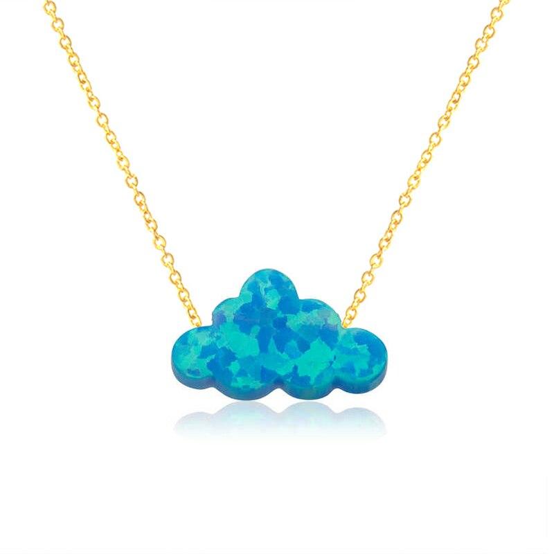 Темно-синие опаловые подвески, ожерелье с опалом и облаком для женщин и девочек, детское Золотое колье-чокер, Femme Bijoux, подарок на день рождени...