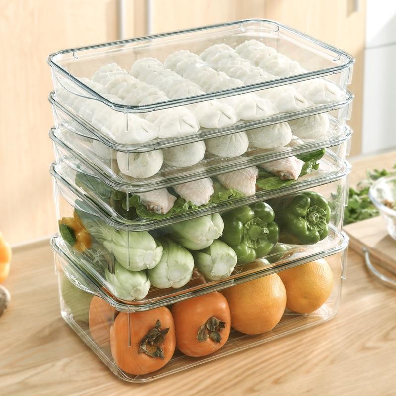 صندوق تخزين الثلاجة مع غطاء صندوق زلابية متعدد الطبقات عالية شفافة كبيرة السعة البلاستيكية صندوق المجمدة سريعة ، تكويم