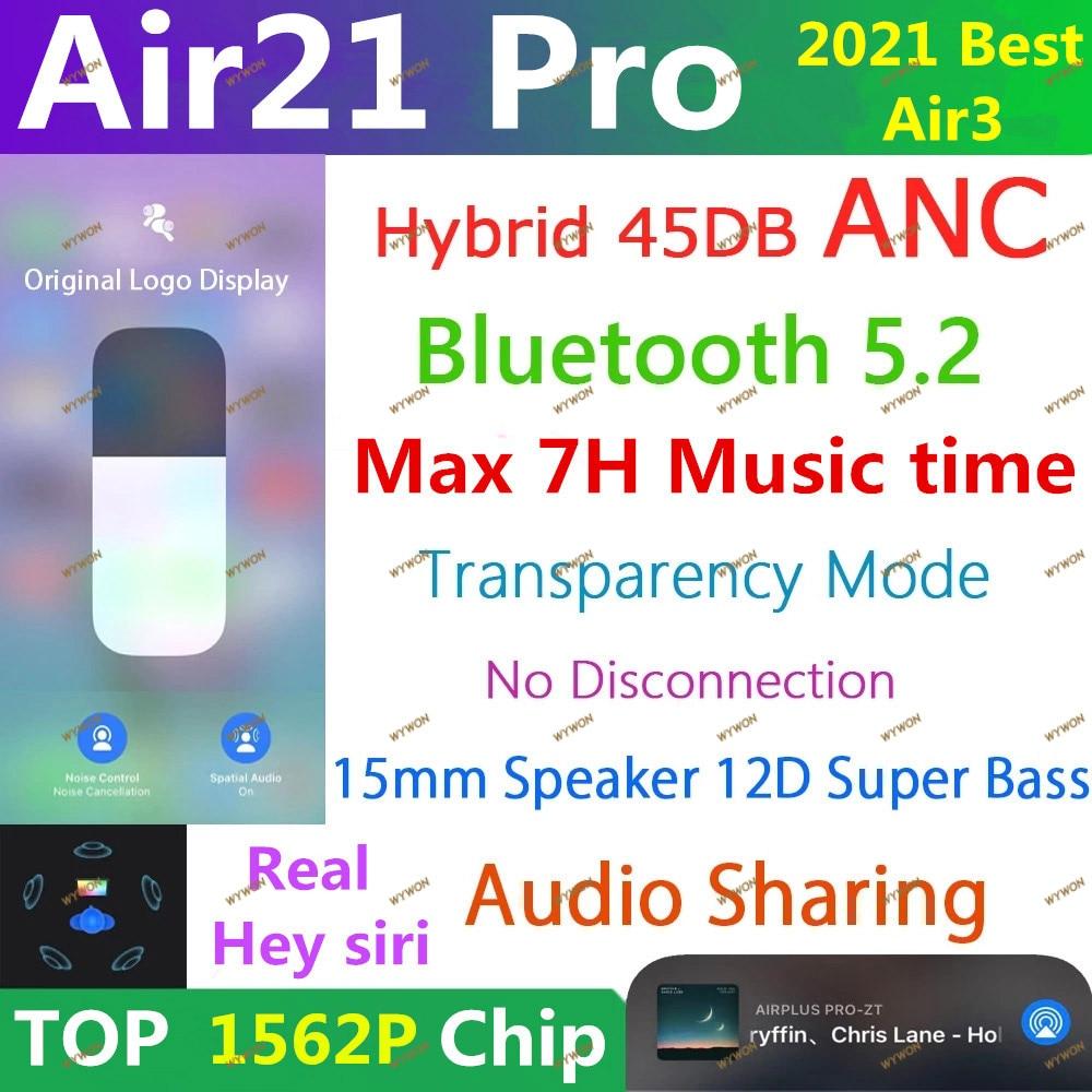 Air21 Pro ANC TWS Wireless Bluetooth Earphone 5.2 Hybrid Earbuds 45DB Super Bass Quality 1562F PK H1