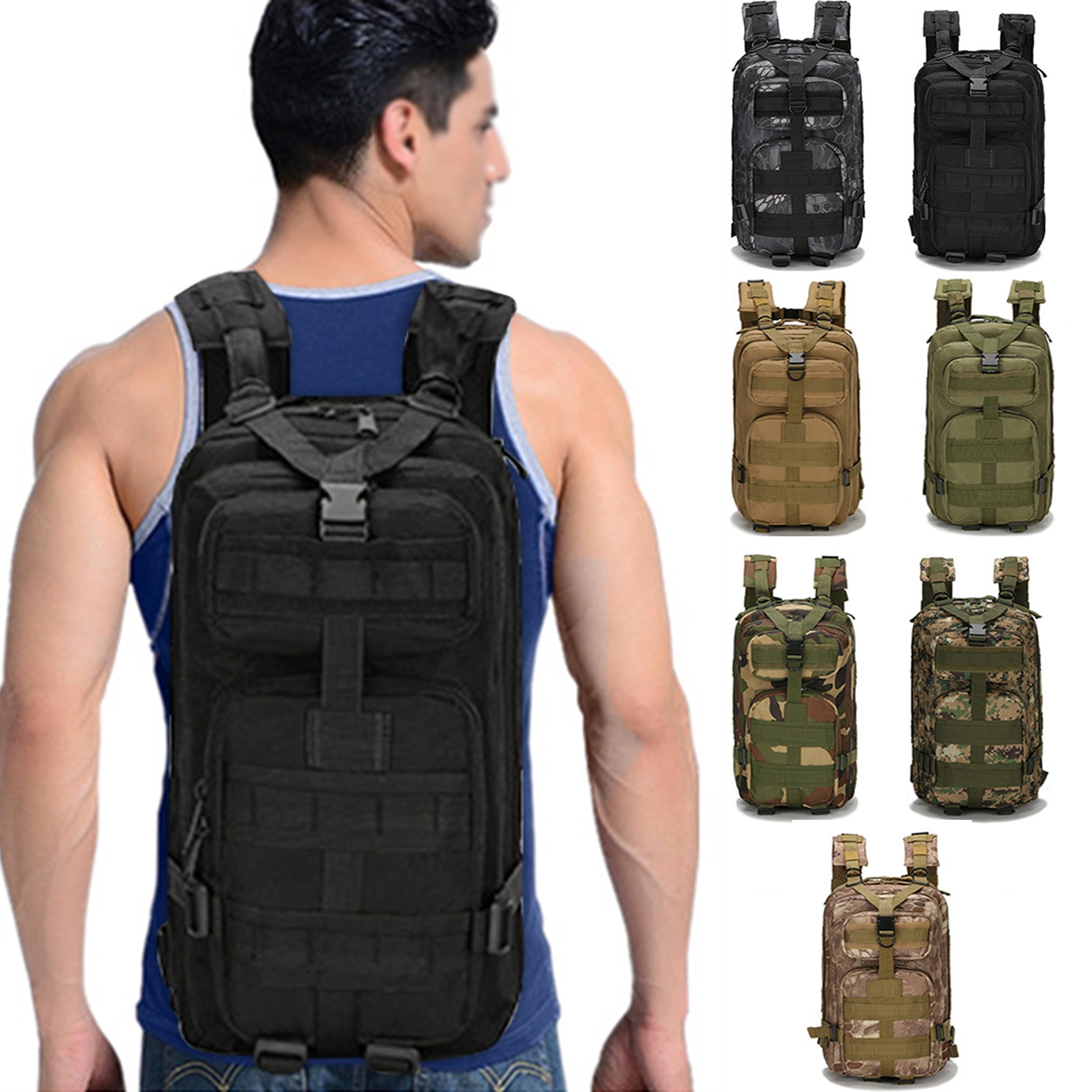 30L Military Tactical Backpack Waterproof Hiking Backpack Outdoor  Large Capacity Travel Bag Cámping Mochila