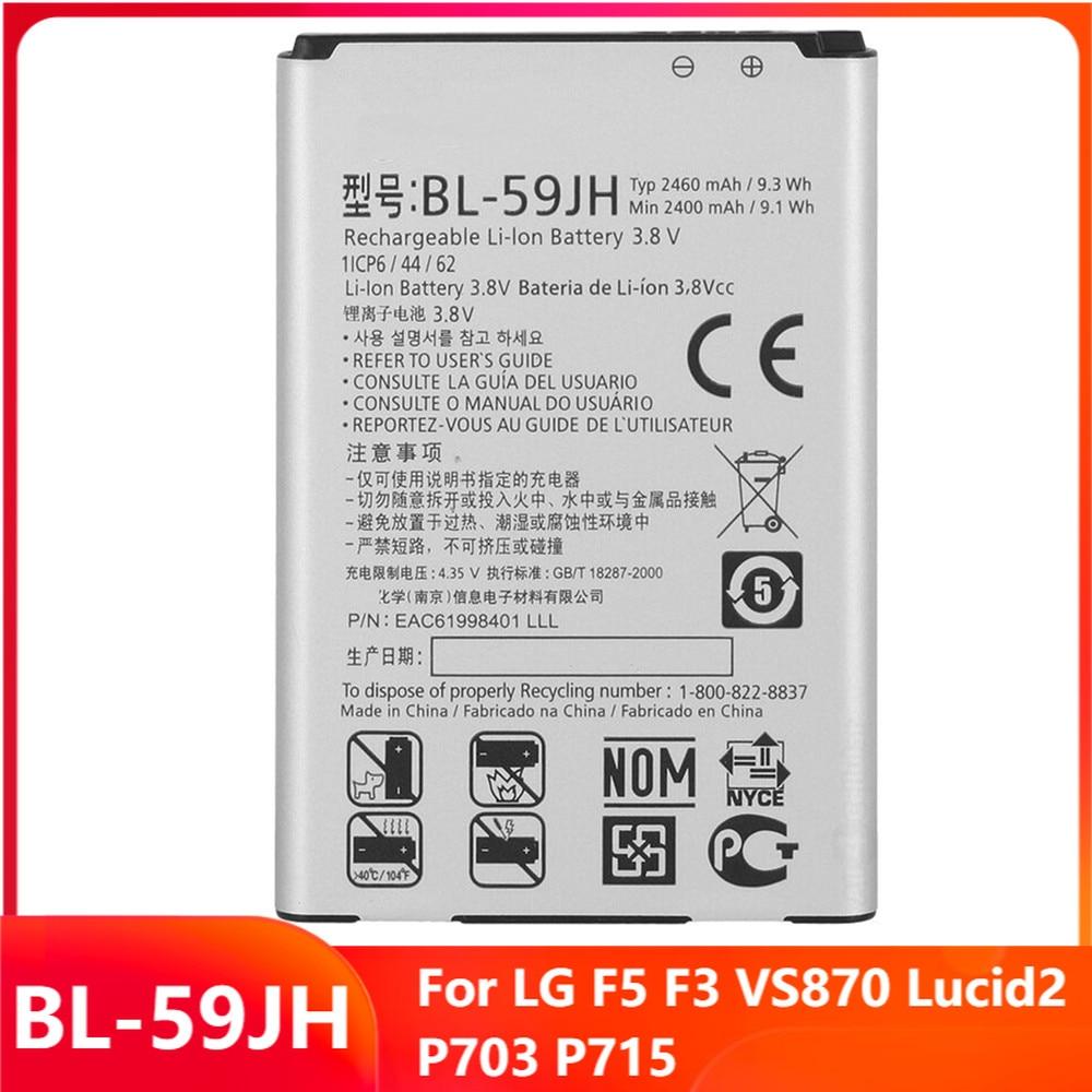 Оригинальная запасная батарея для телефона, телефон для LG F5 F3 VS870 Lucid2 P703 P715, оригинальные аккумуляторные батареи 2460 мАч