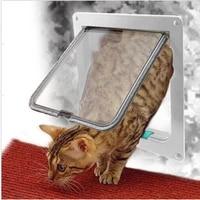 sml pet door 4 way lockable abs plastic safety flap door dog door kitten hole outdoor pet products 2 colors optional pet gate