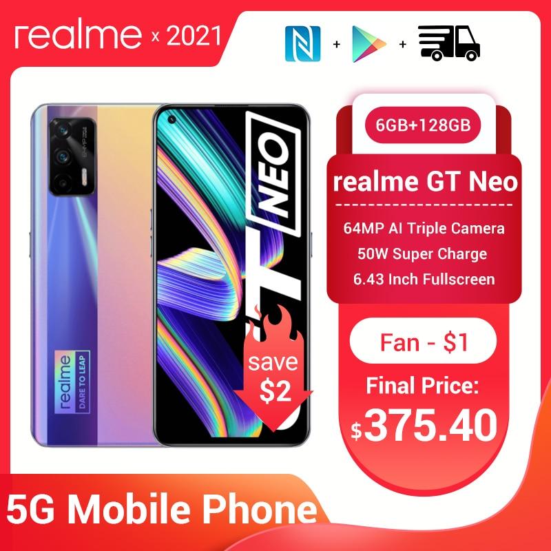 Перейти на Алиэкспресс и купить Realme GT Neo 5G смартфон 6/8/12G Оперативная память 6,43 дюймFHD + безрамочный экран 120 Гц Super AMOLED Dimensity 1200 Octa Core 50 Вт Быстрая зарядка 64MP WI-FI 6 NFC