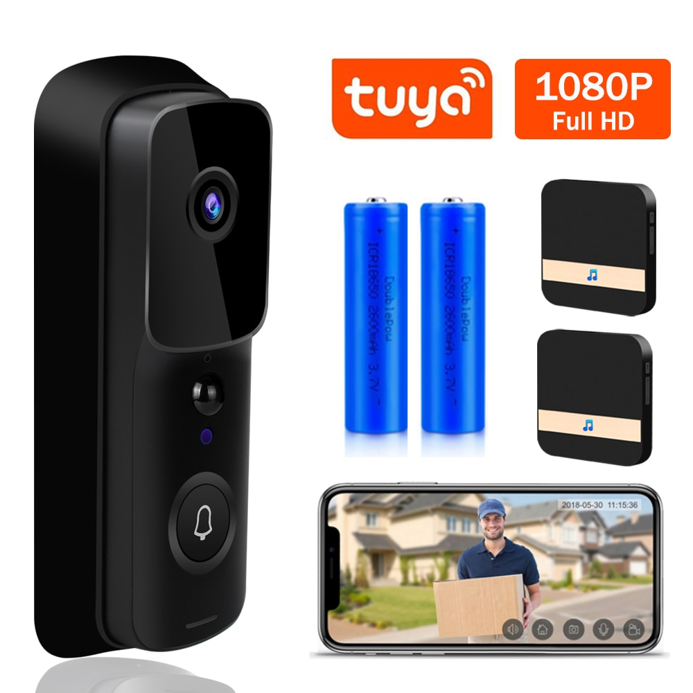 Tuya timbre WIFI 1080P HD Video intercomunicador Video puerta teléfono vida inteligente inalámbrico timbre de seguridad Cámara IR alarma de visión nocturna